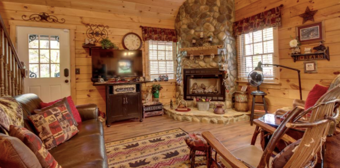 Rustic interior of a Mountain Memories cabin   Cozy couches and fireplace
